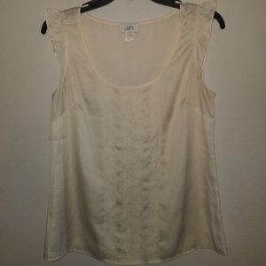 Cream Silk look tank top with Lace Embellishment